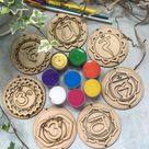 Chakras painting kit, Wooden Chakras  paint kits for adults, Diy kit for birthday gift, Happy birthd
