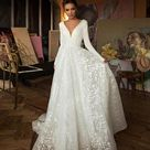 Beautiful White Minimalist Inspired A Line Wedding Dress With Long Sleeves and Low Back Made to Order
