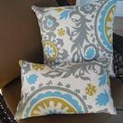 CLEARANCE OUTDOOR Turquoise Gray Pillow Cover Ikat Patio Porch Decorative Accent Throw  TOSS Pillow  Gray Teal Modern Abstract Pillow