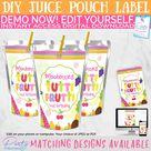 Tutti Frutti Juice Pouch Label, Tutti Frutti Party, Tutti Frutti Decorations, Tutti Fruity Juice Label, Editable Instant Access Download