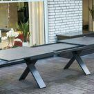 Hartman Sondermodell Xanadu / Aruba Sitzgruppe xerix/anthrazit Alu/Glaskeramik 6 Stapelsessel 2 Multipos 220/280x100cm