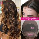 eBay UNice Cambodian Ombre Blonde Body Wave Lace Front Human Hair Wigs Balayage Brown