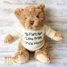 Personalised Teddy Bear Keel Eco Recycled 9 Inch Knitted Jumper Embroidered with NAME / TEXT. Great New born Baby Boy Girl Gift Christening