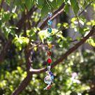 Hanging 7 Chakra Half Moon Crystal Suncatcher