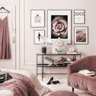 Fashion Bilderwand rosa Schlafzimmer Blossom Poster Schwarze Holzrahmen