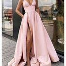 SR1040,Pink Satin V-neck Evening Dresses,Long Slit Prom Gown