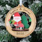 Personalised Toadstool Santa 3D Christmas Tree Decoration, Make Your Own Kit, Xmas, Festive