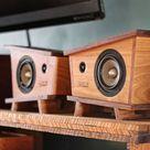 Handmade Black Walnut & Hickory Wood Bookshelf Speakers Pair  | Etsy