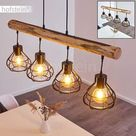 Pendant Light Gainesville in Genuine Wood and Black Metal, 4 Vintage Hanging Lights Fitting Above a Retro Table, Height Adjustable, max 122 cm, for 4 x E27 max 60 Watt Light Bulbs, Suitable LED Bulbs