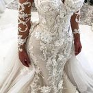 Stunning Long Sleeves Appliqued Mermaid Wedding Dress with Long Train UQ1797