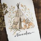 Mother and Fawn Watercolor | Blank and November Printables for Journal or Planner