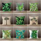 Plants Pillow Cover|Green Leaves Cushion Case|Striped Leaves Decor|Decorative Pillow Case|Boho Bedding Decor|Housewarming Palm Tree Pillow