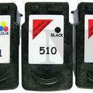2 x PG510 Schwarz & CL511 Farbe Wiederaufbereitetes Tintenpatronen Canon MX410
