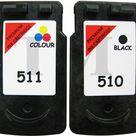 PG 510 Schwarz & CL 511 Farbe Wiederaufbereitetes Druckerpatronen Canon MX340