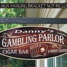 Cards Game Room Decor Playing Cards Poker Custom Personalized Painted Sign - \A\ 8x20 Inch Painted One Side