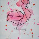 Watercolour Geometric Flamingo Unframed Painting | Original Animal Drawing | Minimalist Illustration