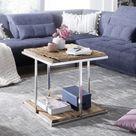 Wohnling Beistelltisch 61x61 cm WL5.688 aus recyceltem Massivholz und Edelstahl Coffee Table