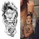 Black Forest Tattoo Sticker For Men Women Children Tiger Wolf Death Skull Temporary Tattoo Fake Henna Skeleton King Animal Tatoo - GXQB375