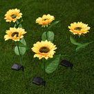 LED Solar Sunflower Lamps Garden Lawn Lamp Patio Porch Backyard - 5pcs Yellow