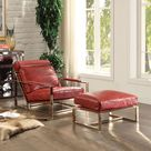 Acme Quinto Ottoman Antique Red Top Grain Leather & Stainless Steel