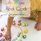 DIY Rainbow Rock Clock for Preschoolers
