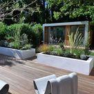 Hochbeete für strukturgebende Ziergräser umrahmen die Terrasse,  Die für Hochbeete strukt...