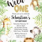 Wild One - Jungle Safari Animals Boys 1st Birthday Party Invitations