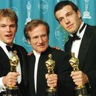 """Matt Damon and Ben Affleck pose with Robin Williams with their Oscars they won for """"Good Will Hunting"""""""