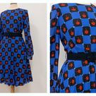 Vintage 1970s blue and black chess abstract print satin dress - size M