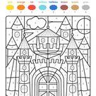 Kostenlose Malvorlage Malen nach Zahlen: Burg ausmalen zum Ausmalen