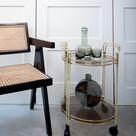 Mid Century Brass Cocktail Trolley / Bar