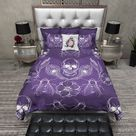 Purple Peacock Feather Skull Bedding Collection Universal King Comforter 3 Piece Set Value White Poly Backside