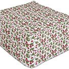 Lunarable Berries Rectangle Pouf, Graphic Image of Continuing Cowberries Forest Wildlife Plantation, Under Desk Foot Stool for Living Room Office Ottoman with Cover, 25