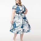 Unique Vintage Plus Size Navy & White World Map Print Alexis Swing Dress