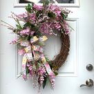 Summer wreath for front door Pink Wisteria wreath Oval | Etsy