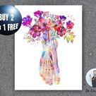 Floral Anatomical Foot Art Print Foot Bones Anatomy Print Ligaments Poster Podiatrist Gift Chiroprac