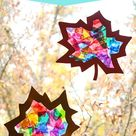 Stained Glass Tissue Paper Leaf Sun Catchers - Create. Play. Travel.