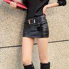 Black Faux Leather Tight Mini Skirt