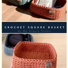 Square Storage Basket   Hand-crocheted   Minimalist Rectangle Tray   Multi-purpose Organizer