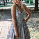 Charming Lace Appliques V Neck Grey Tulle Short Prom Dress Homecoming Dresses Hoco Gowns LD3052 - Custom size / Picture color