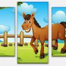 Wandmotiv24    Leinwandbild Pferde auf der Wiese mehrteilig, Foto-Leinwand, Wandbild M0500   Fototapeten günstig kaufen