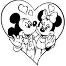 Mickey Mouse And Minnie Mouse In Love Within A Heart - Free Disney Printable Valentine's Day Coloring Page - Coloring Home Pages