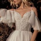 Light blush ivory wedding dress boho glitter shine sexy illuminations lace train bohemian tulle gown Corset Open  Transparent Illusion beach