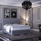 Baron Chesterfield Boxspringbett mit Bettkasten Grau Stoff   160 x 200 cm / LED Fuß