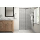 Delta Simplicity 48 In. X 71-1/2 In. Mod Semi-Frameless Sliding Shower Door In Chrome & 1/4 In. (6Mm) Clear Glass Tempered Glass in Gray | Wayfair