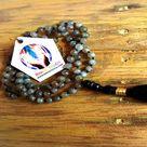 Natural AAA Grade Labradorite Mala Necklace Hand Knotted Mala beads 108 Healing Crystal Tibetan Mala