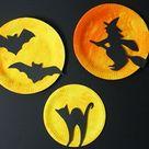 Halloween Deko basteln - Pappteller mit Motiven