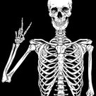 Human skeleton posing isolated over black background vector illustration Acrylic Tray by denzhu