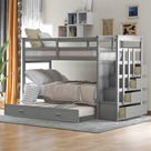 Harper & Bright Designs Twin over Twin Bunk Bed with Trundle and Staircase