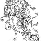Realistic jellyfish coloring book
